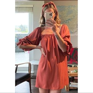 Handmade Square Neckline Tunic Babydoll Dress